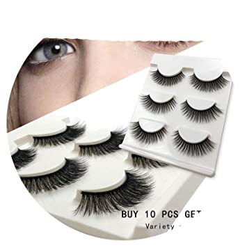34330bd5ddb Amazon.com : New 3 pairs natural false eyelashes fake lashes long makeup 3d  mink lashes extension eyelash mink eyelashes for beauty #X11, 11mm : Beauty