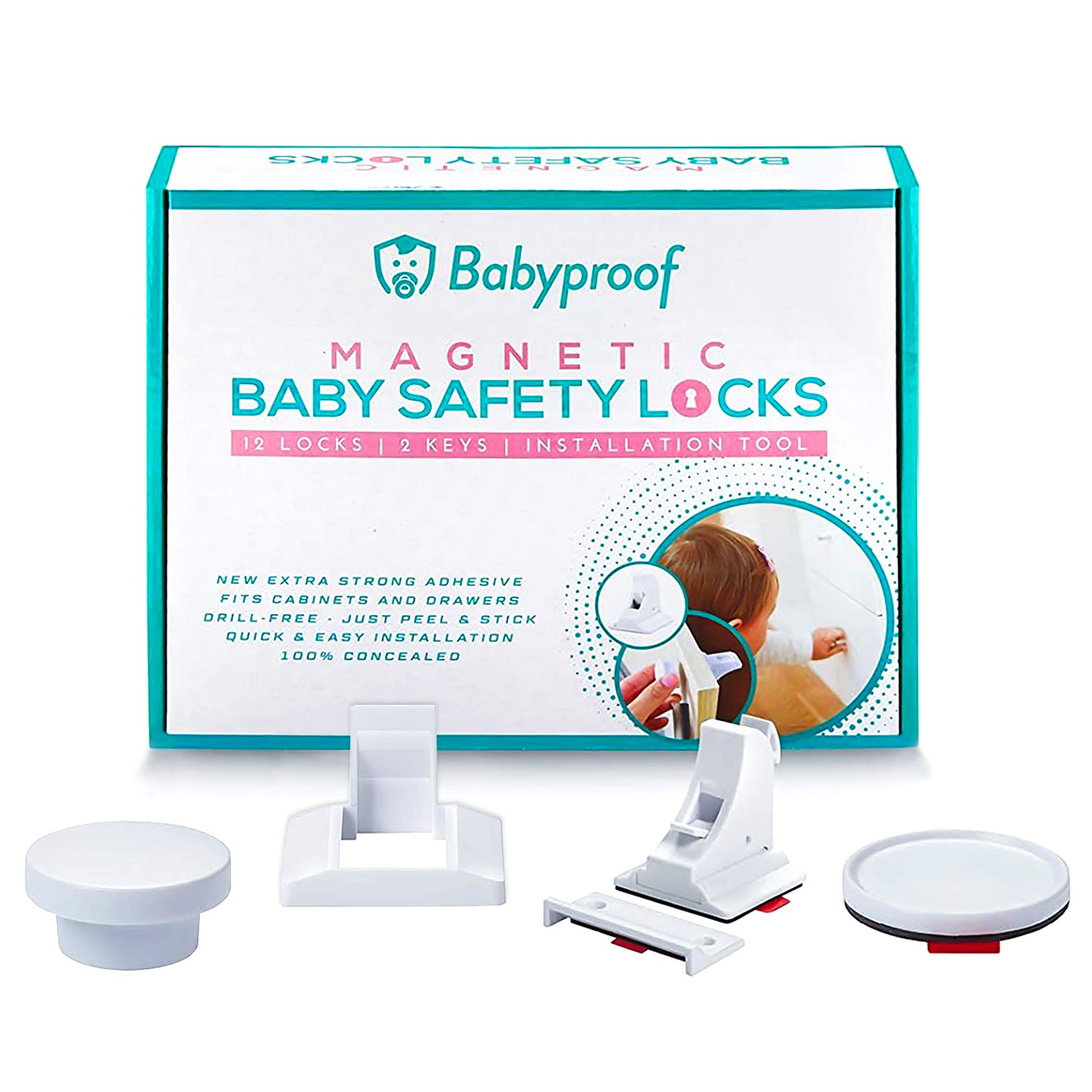 Babyproof Magnetic Cabinet Locks Child safety - Extra Strong Hold, Drill Free - Easy and Fast Installation - Baby Locks For Cabinets Doors and Drawers - Magnetic Lock On/Off Switch by BabyProof