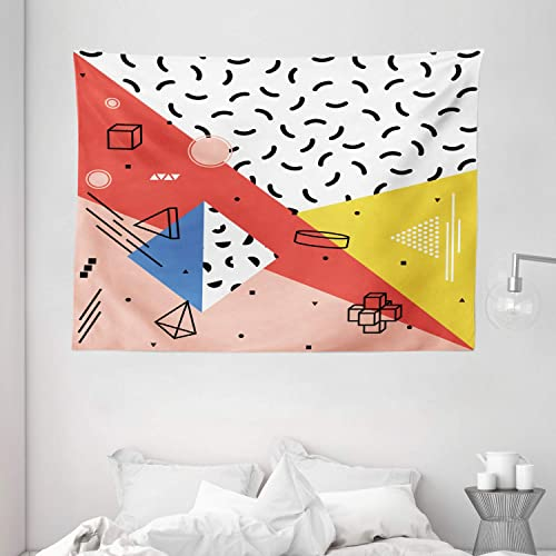 Ambesonne Abstract Tapestry, Modern Geometric Trippy Triangles Cubes Circles Rollers Dots Print, Wide Wall Hanging for Bedroom Living Room Dorm, 80 X 60 , Coral Pink