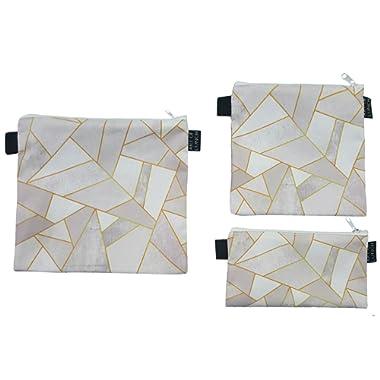 Designer Lunch Bags for Men & Women, Boys & Girls, Fashionable, Reusable, Snack & Sandwich Bags w Zipper - Design by Elisabeth Fredriksson (Sweden) - White Stone