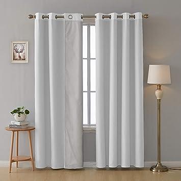 Deconovo Lot de 2 Rideau de Porte Doublure pour Chambre Enfant Garcon  Isolation Thermique à Oeillets 117x183cm Blanc Pâle Gris