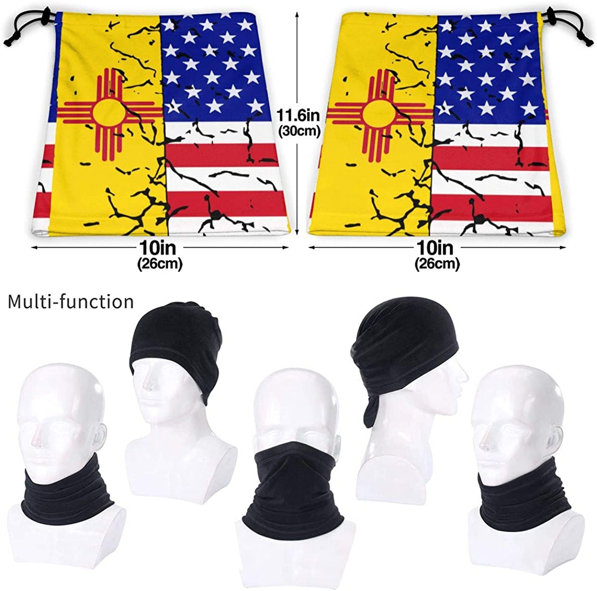 for Mens Womens USA New Mexico Flag Microfiber Polyester Seamless Windproof Bandana /& Face Mask /& Neck Warmer Gaiter Shield