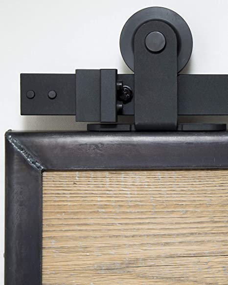 Syst/ème de porte coulissante sur le dessus de 2 m/ètres Syst/ème de porte coulissante sur le dessus 200 cm Ensemble complet avec roulettes et rail