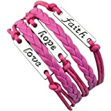 Sasavie Bracelet Tisse 16+5cm Extension Faith Hope Love Rose