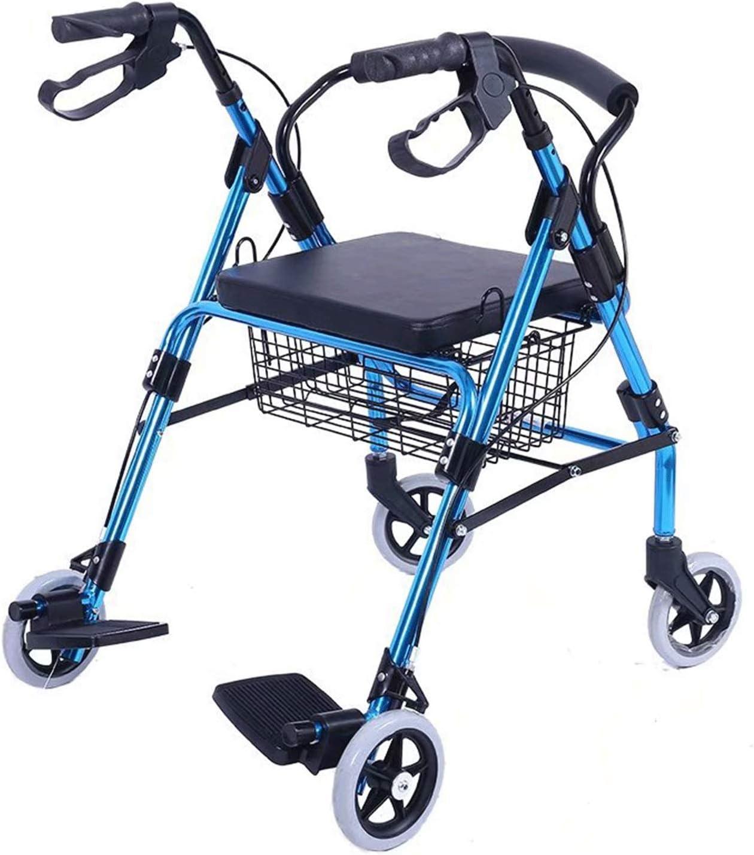 LYRWISHPB Rollator De 4 Ruedas,de Aluminio Ligero Plegable Andador con Asiento&Respaldo del Asiento Altura Ajustable Ayudas para La Movilidad