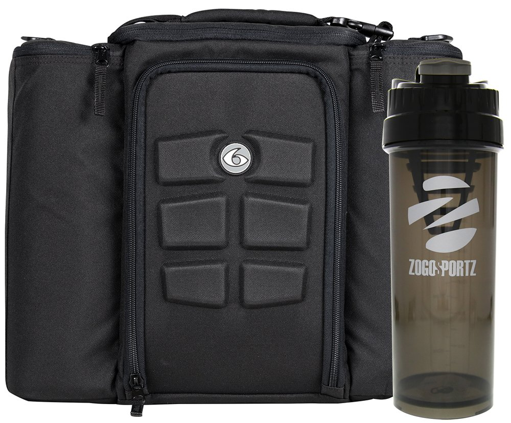 6 Pack Fitness Insulated Meal Prep Bag, Innovator 500 Stealth Black w/Bonus Zogosportz Cyclone Shaker by 6 Pack Fitness