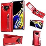 Galaxy Note 9 ケース 手帳型 磁気吸着 PUレザー バックケース 脱着簡単 Zeebox® Galaxy Note 9 全面保護 スタンド機能 カード収納 耐汚れ 耐衝撃 カバー, 赤