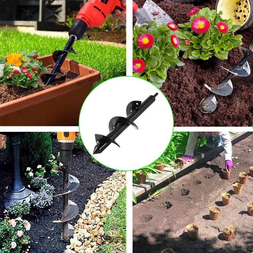 Garden Plant Flower Bulb Auger Garden Auger Spiral Drill Bit Garden Tiller  Bulb Bedding Plant Auger Garden Bulb Planting Planters Hole Drill Planter  Post Hole Diggers Drill Bit Auger Drill Bit Auger