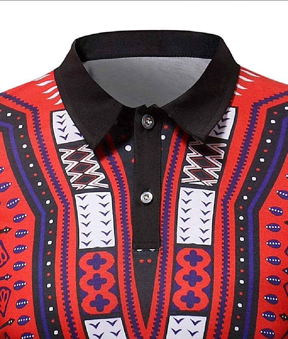 Mens African Printed Polo Tops Slim Fit Short Sleeve T-Shirt Casual Muscle Tee