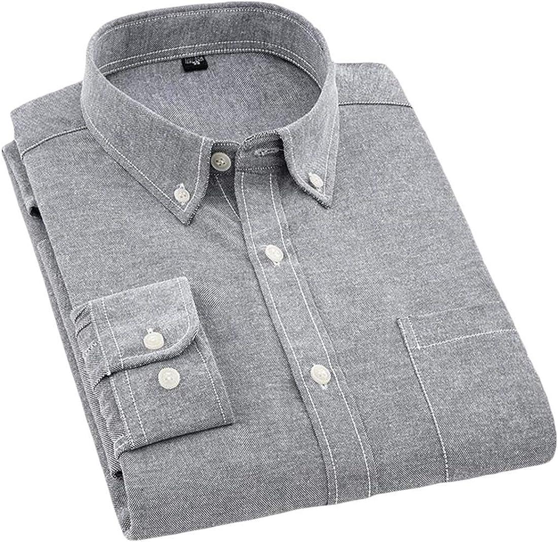 Etecredpow Mens Long Sleeve Oxford Casual Regular Fit Button Front Dress Shirt