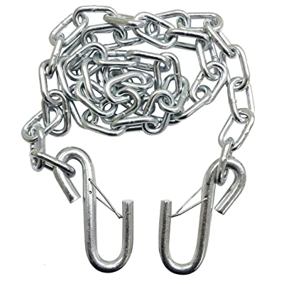 """TOWKING One New 3/16"""" X 48"""" Grade 30 Trailer Safety Chain w/ 2 S Hooks & Safety Latches - 25001: Automotive"""