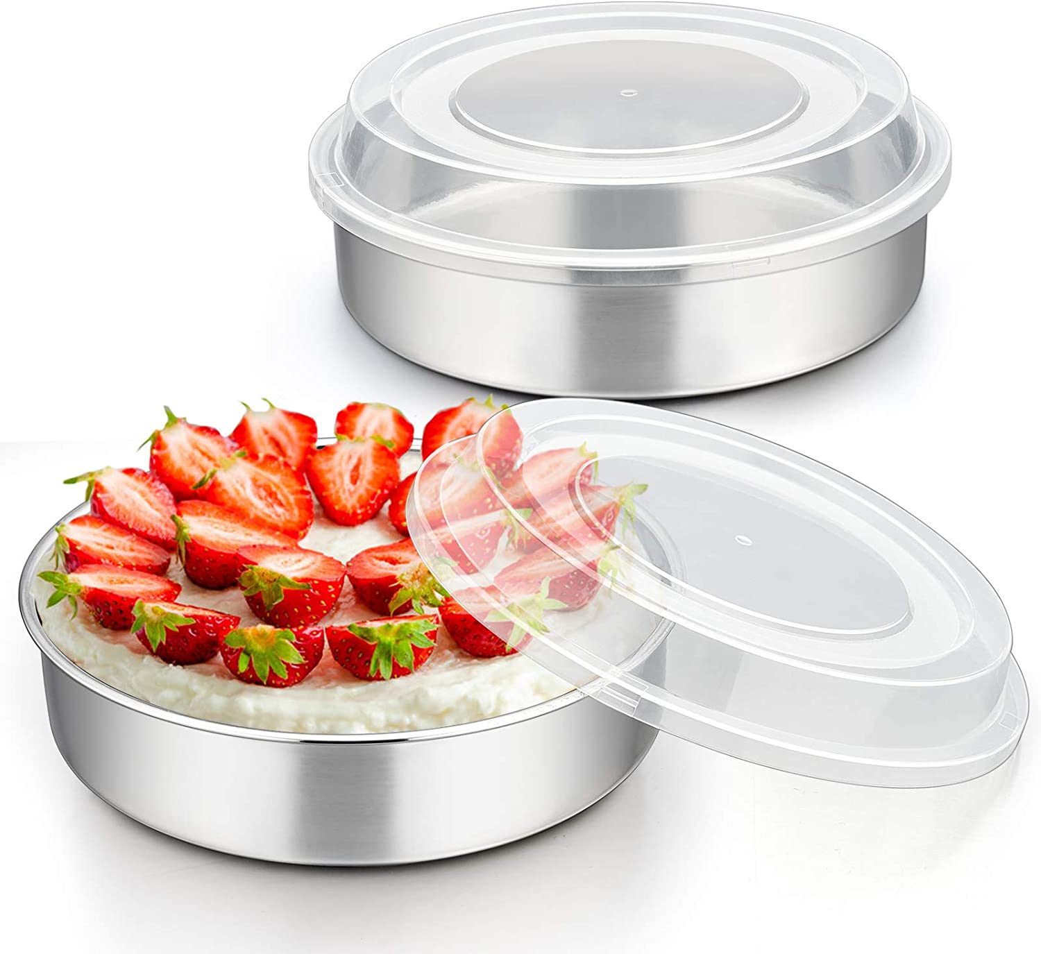8 Inch Cake Pan with lid, E-far Stainless Steel Round Baking Cake Tins Bakeware Set of 2, Non-toxic & Mirror Finished, Easy Release & Dishwasher Safe - 4 Pieces(2 Pans + 2 Lids)