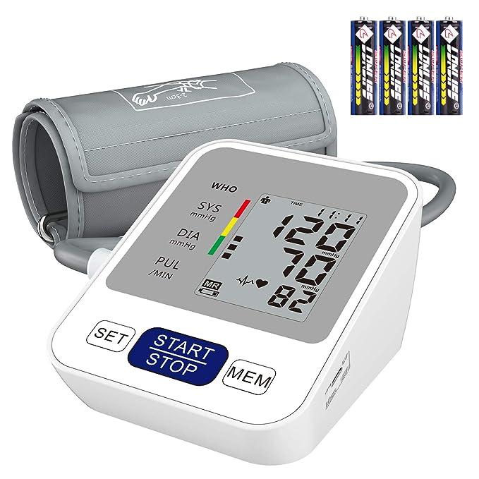 Annsky Tensiómetro de Brazo Digital, Automática de la Presión Arterial y pulso de frecuencia cardíaca detección,2 memorias de usuario (2 * 99),Batería ...