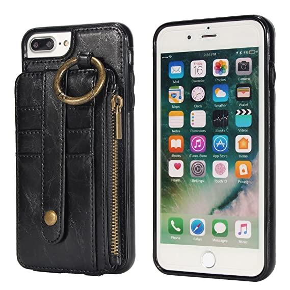 f0187e77241e iPhone 6 Plus Wallet Case, PEPMUNE iPhone 6S Plus Premium Detachable PU  Leather Kickstand Case