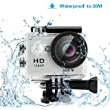 """Yuntab HD 1080P 30fps 12 Mega Pixels Sport Mini DV Action Camera 2.0"""" LCD 170° Wide Angle Lens 30M Waterproof WiFi Remote Control Outdoor Sports (Silver)"""