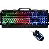 IDEAPRO キーボード ゲーミングキーボード マウスセット PC キーボード USB 有線キーボード 3種類 LEDバックライト RGB 防水 104キー 19キー防衝突 英語配列(ブラック)