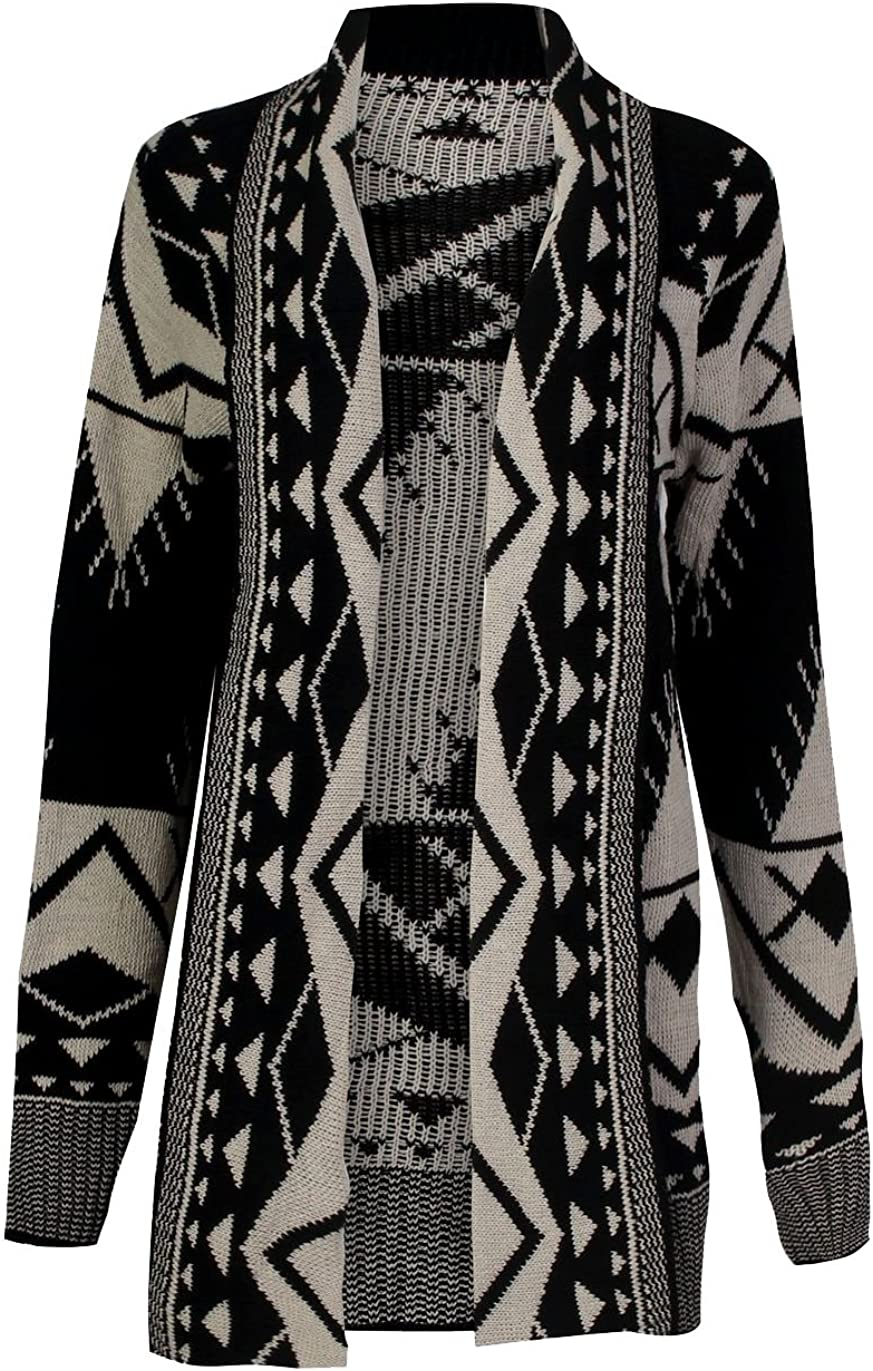 Women Gray Outerwear Hood Knitted Tribal Jacket Chunky Cardigan Sweater Coat S