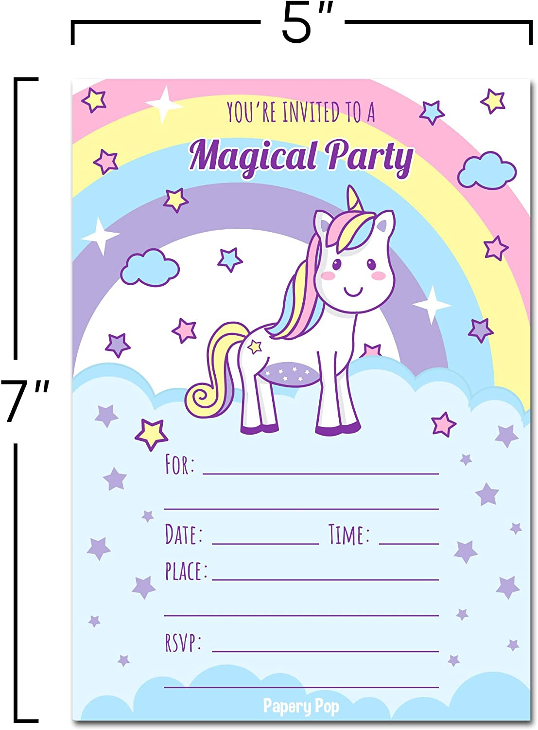 8 Unicorn Birthday Invitations with Envelopes (8 Pack) - Kids Magical  Birthday Party Invitations for Girls