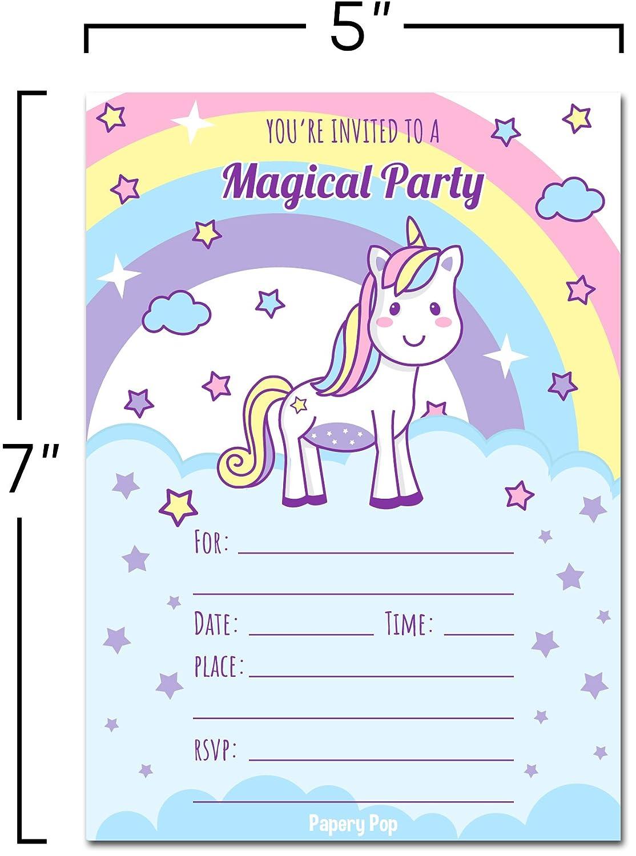 Amazon 30 Unicorn Birthday Invitations With Envelopes Pack