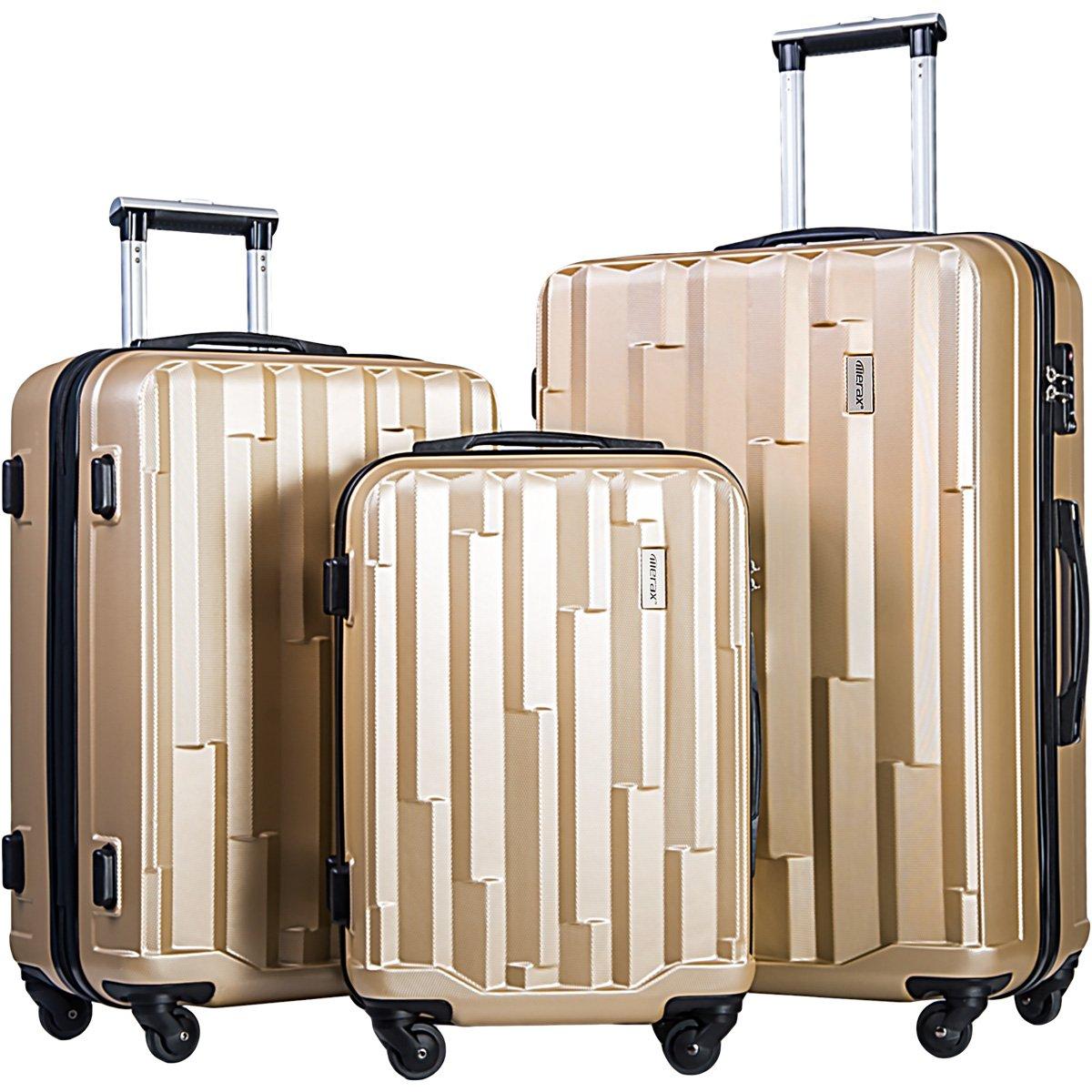 Merax Luggage set 3 piece luggages Suitcase with TSA lock (Champagne)