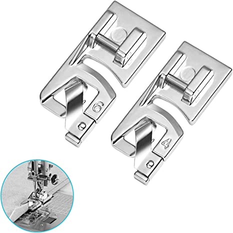 BabyLock Singer HONEYSEW 3PCS Narrow Rolled Hem Presser Foot Sewing Machine Roll Roller Hemmer Press Feet 3MM,4MM,6MM Hemming Foot for Kit for Low Shank Sewing Machine Brother etc.
