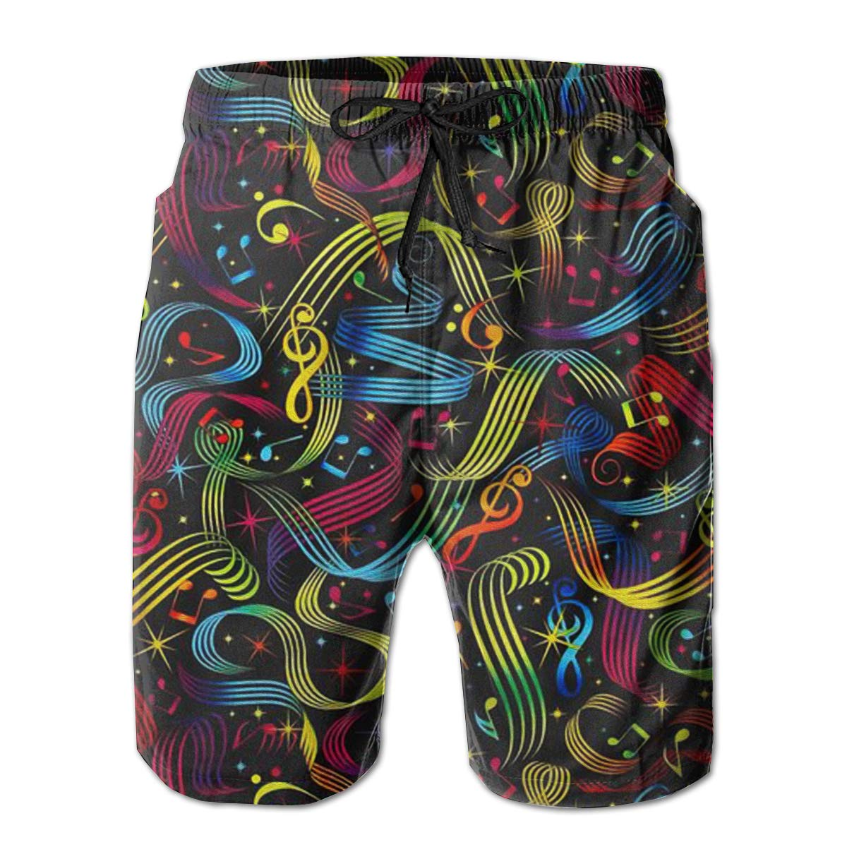FASUWAVE Mens Swim Trunks Ribbon Notes Quick Dry Beach Board Shorts with Mesh Lining