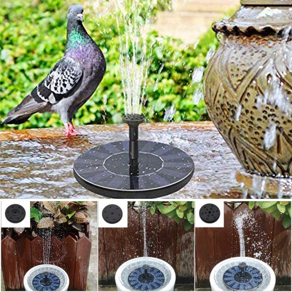 Water Cycling ASSCA Solar Fountain Pump Pond or Garden Decoration 6 Nozzles Free Standing Bird Bath Fountain Pump for Garden and Patio for Fish Tank Solar Panel Kit Water Pump