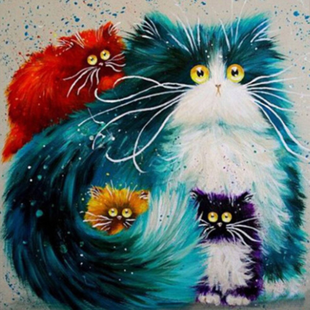 5D Diamond Painting Kit DIY Rhinestone Embroidery Cross Stitch Arts Craft for Home Wall Decor Cats Family 12x12inch MXJSUA
