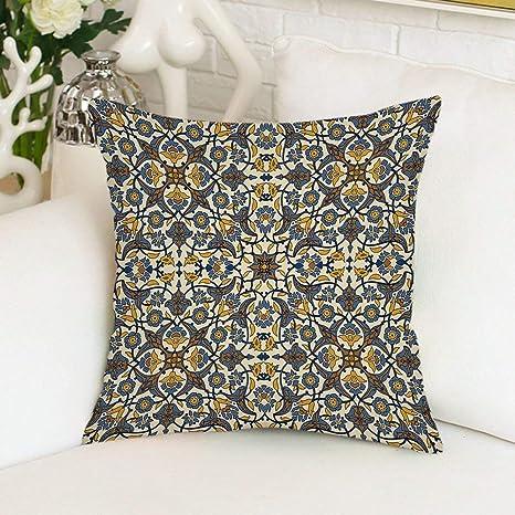 vikkk Funda de Almohada Flores turcas estilizadas Pizarra ...