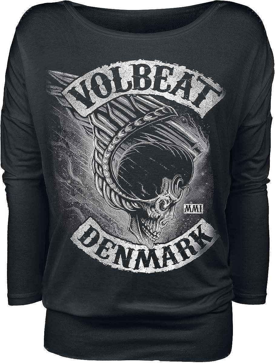 Volbeat Flying Skullwing Frauen Langarmshirt schwarz Band-Merch Bands Totenk/öpfe