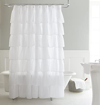 Chezmoi Collection Crushed Voile Sheer Shabby Chic Ruffle Shower Curtain With Rings White