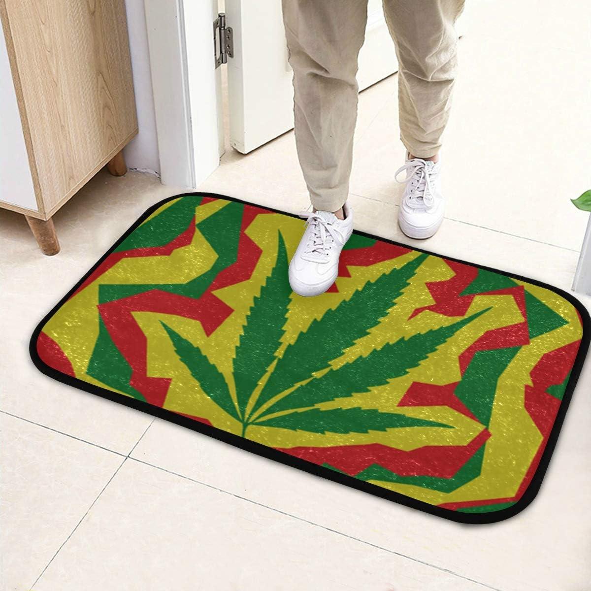 Alfombrilla de cocina Cojín Marihuana Hoja de cannabis Alfombras coloridas para el dormitorio 23.6x15.7 pulgadas ch 60x40cm) microfibra Lavable para jardín Oficina Cocina Comedor Vida Decoración