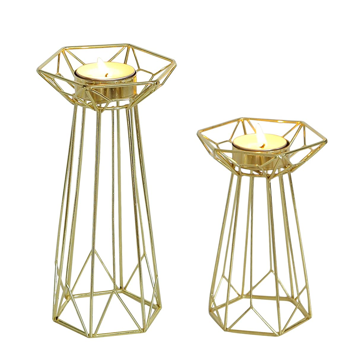 Adeco Decorative Standing Tealight Candle Holder - Golden Metal - Home Decor - Set of 2