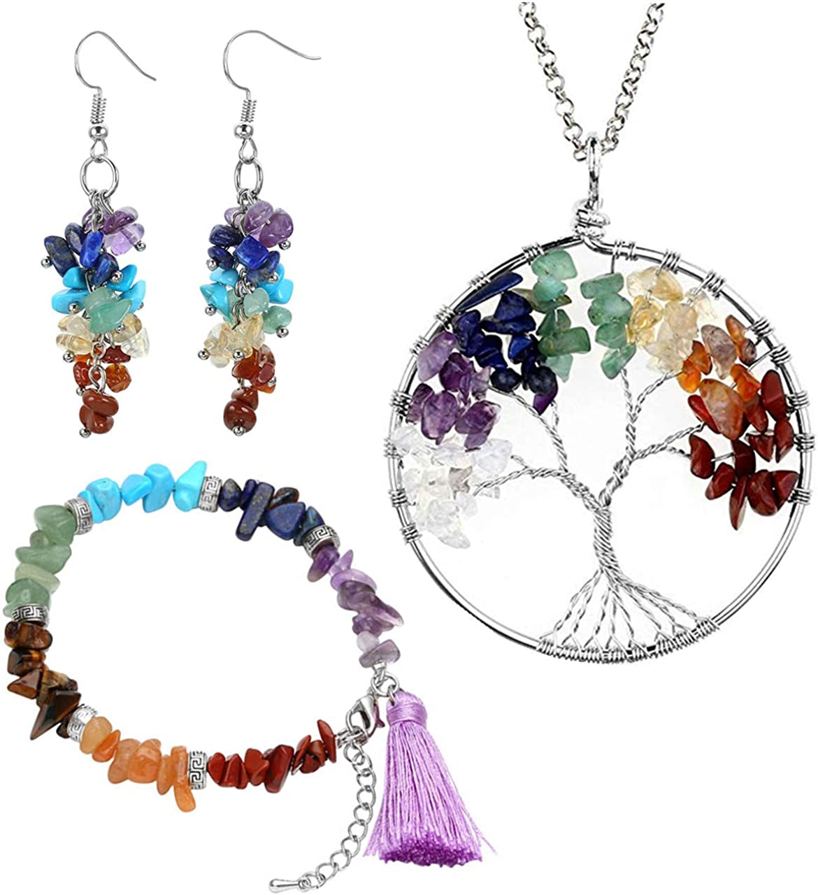 Heilung Baum des Leben Anhänger Halskette Kristall Naturstein HalsketteZJP