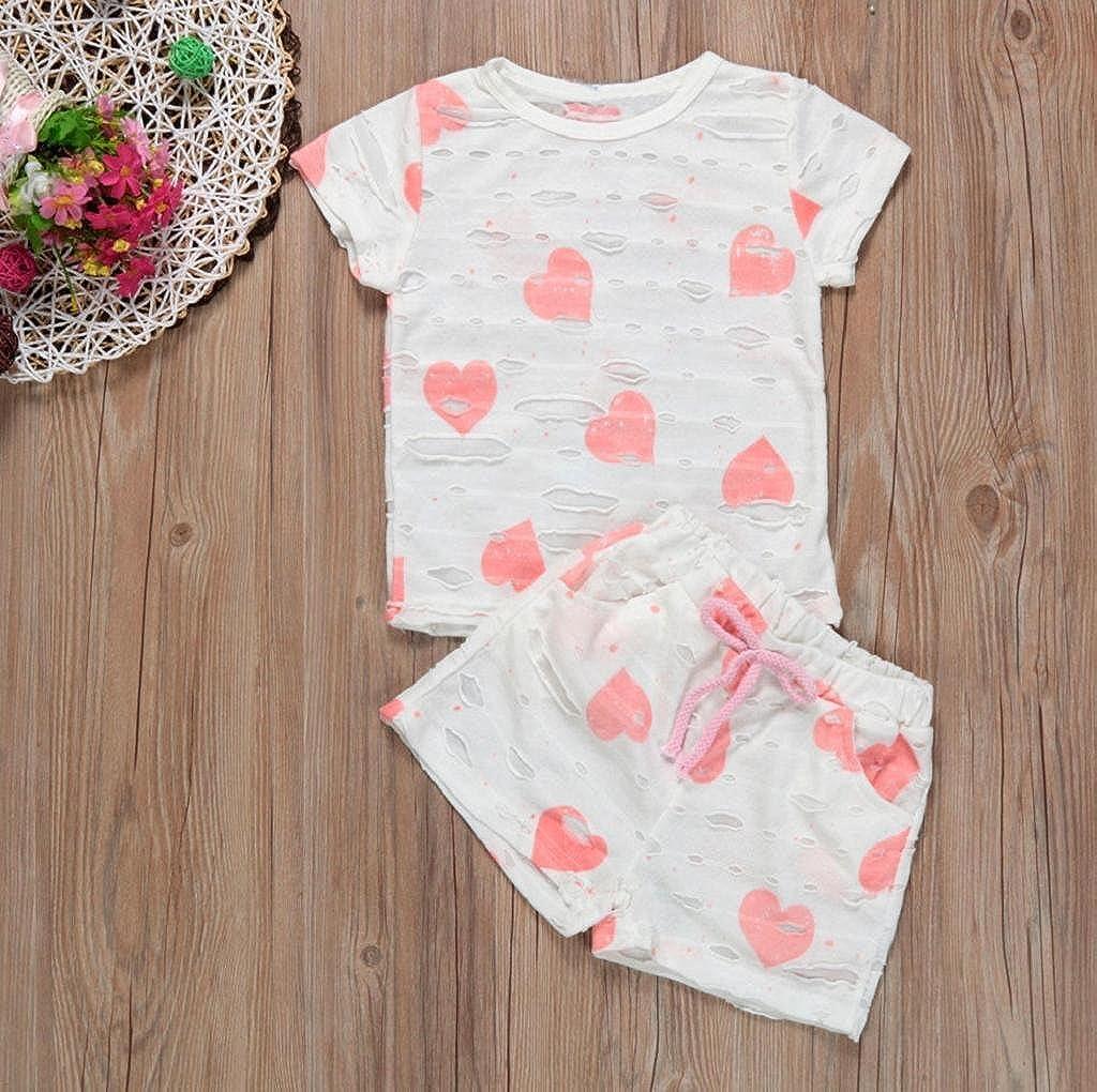 Short Pants VIASA Baby Girls Love Pattern Short Sleeve T-Shirt