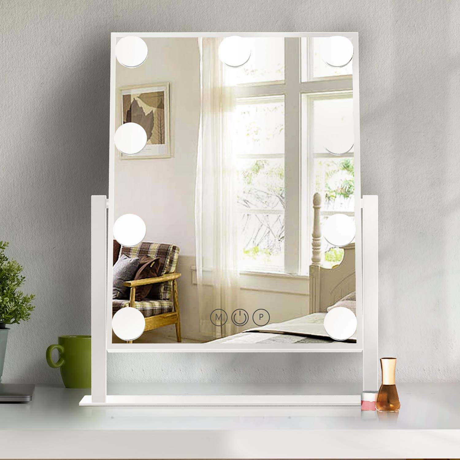 Lighted Vanity Make Mirror with Light,Makeup Mirror with Dimmable LED Blubs, Screen Touch Control Three Colors Lights Ajustable Angle for Dressing Table