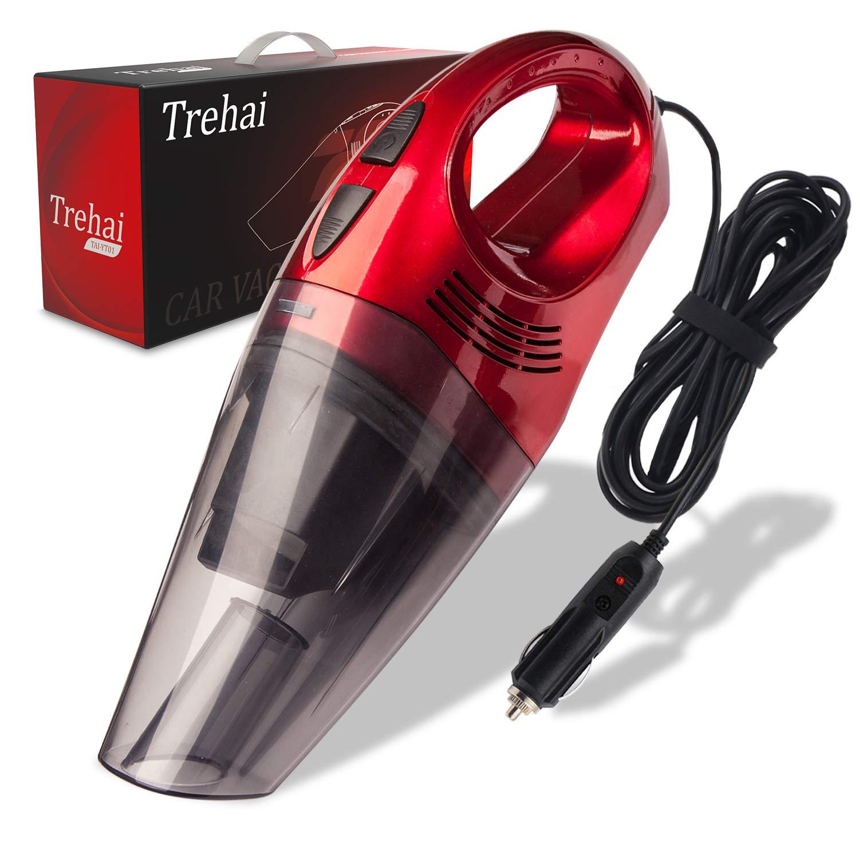 Trehai Aspirador Coche - Actualizado Potentes 4000pa DC 12V 120W Hú medo y Seco Aspiradora de Mano para Coche, Rojo