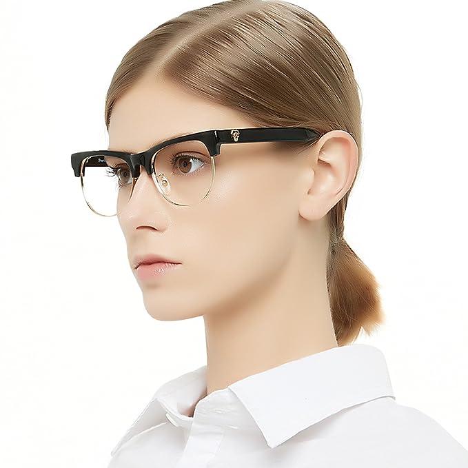 d5417880966f OCCI CHIARI Half Rimless Eyeglasses Frame Classic Clubmaster Eyewear Non  Prescription Women s glasses(Black+