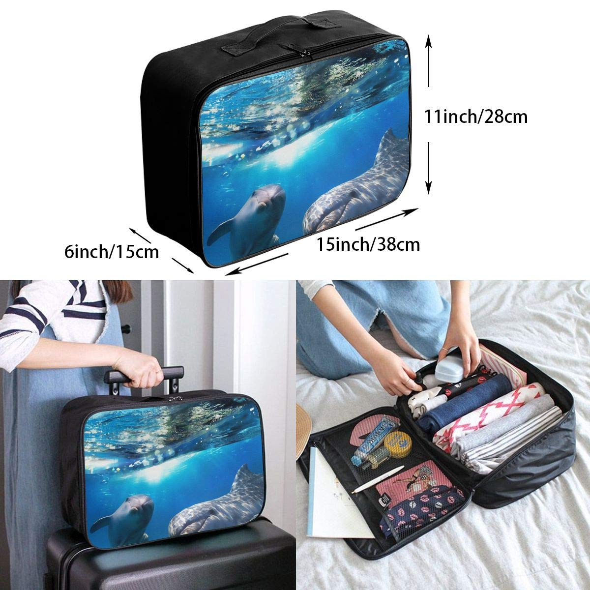 SSZW Cute Dolphin Travel Duffel Bag Waterproof Fashion Lightweight Large Capacity Portable Luggage Bag