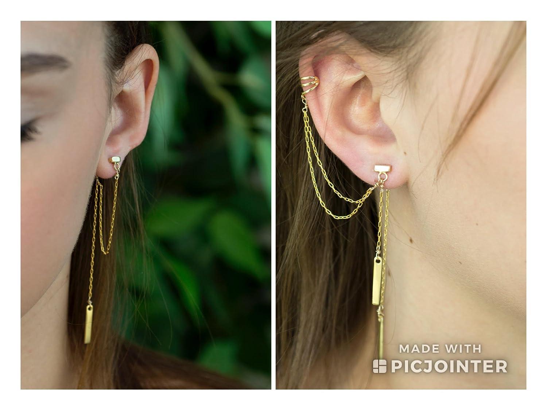 14Kt Gold Earring Chain Earring