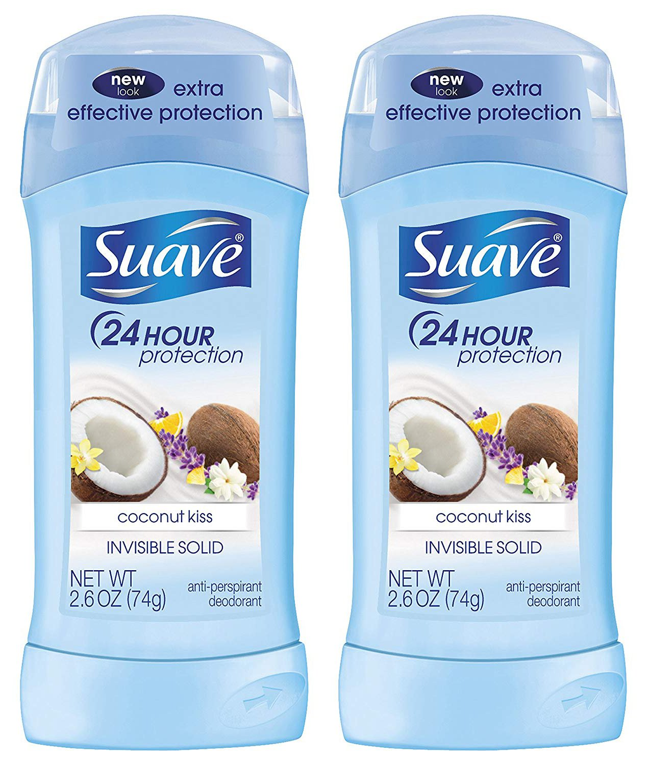 Deodorant for women by Suave | Coconut Kiss Antiperspirant | Invisible Solid Deodorant Stick | 2.6 oz | Value Quad (Four) Pack