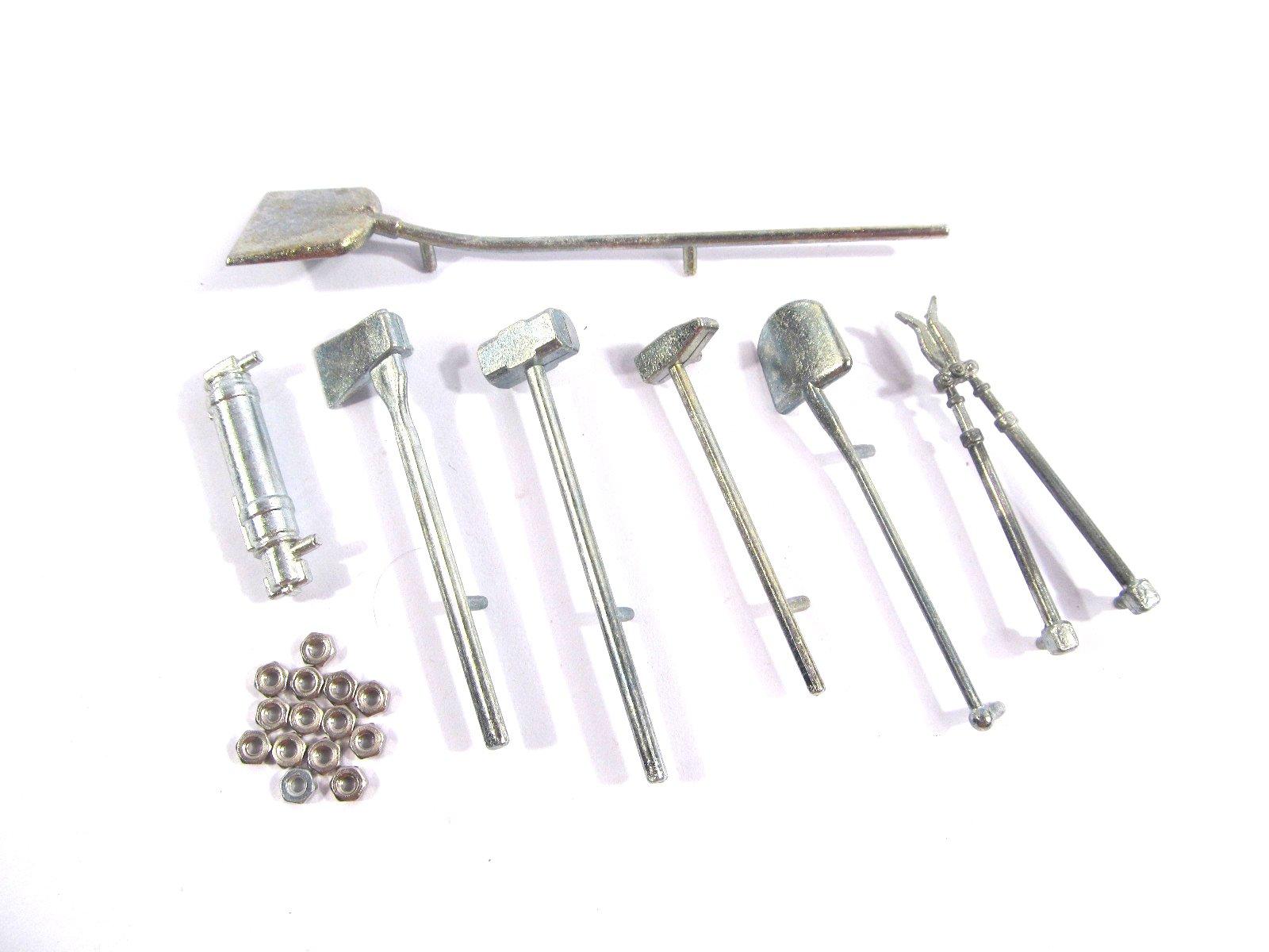 Mato Metal tool kit for Heng Long 3818-1 1/16 1:16 RC Germany Tiger 1 tank Shovel Hammer Axe Scissors Fire extinguisher