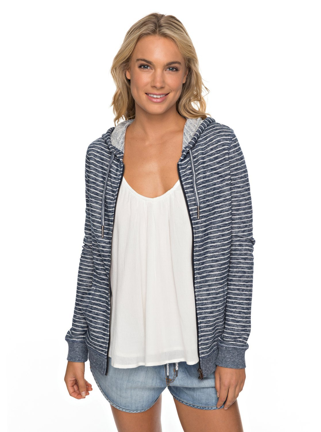 Roxy Junior's Trippin Zip up Fleece Sweatshirt, Marshmallow Just Simple Stripe, M