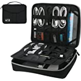 """Electronic Organizer, Double Layer Travel Bag Accessories Organizer for Cords USB Cables SD Cards MP3 Player Hard Drive Power Bank, E-Book Kindle iPad or Tablet(up to 9.7"""")- Black"""