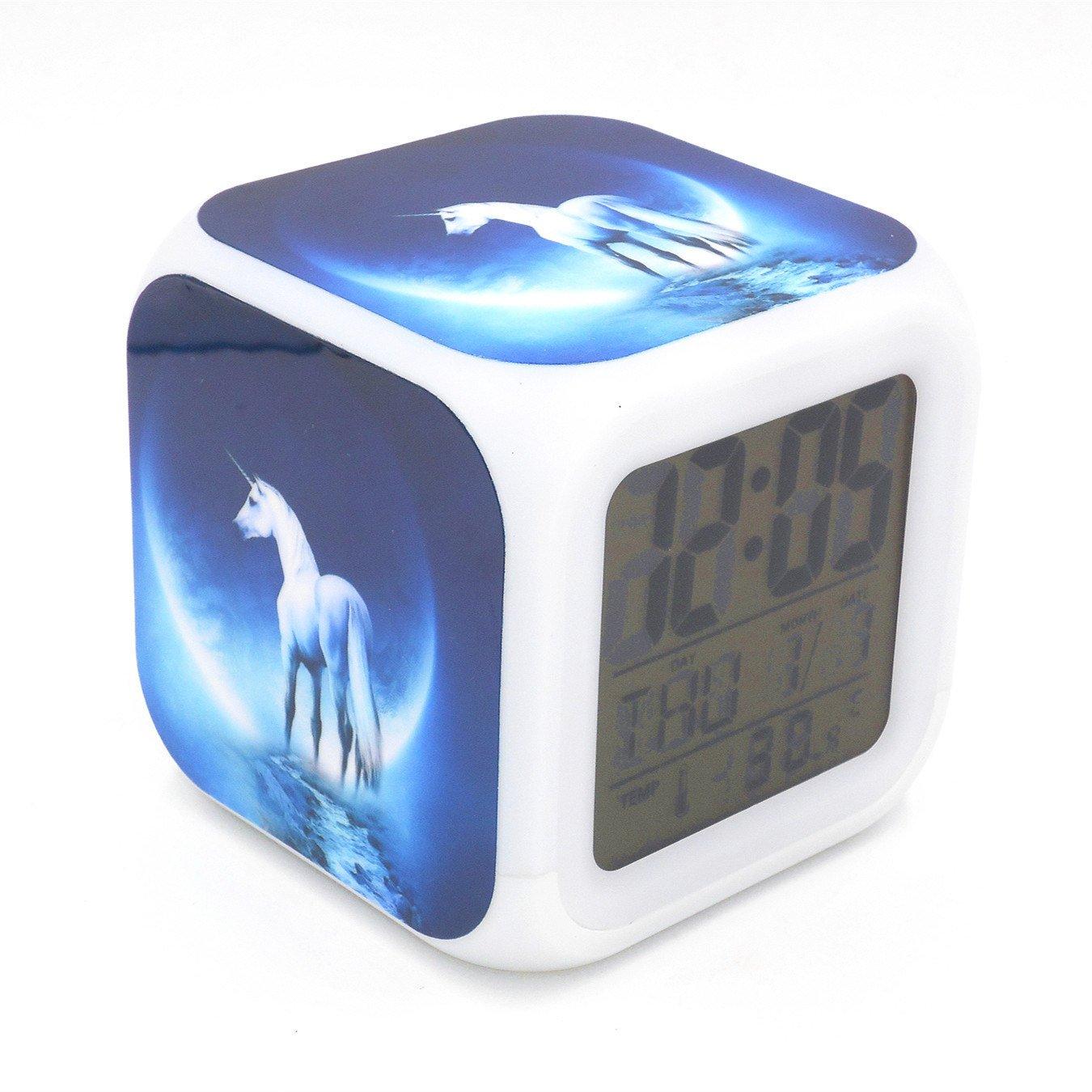 Boyan New Unicorn Moon Blue Led Alarm Clock Creative Desk Table Clock Multipurpose Calendar Snooze Glowing Led Digital Alarm Clock for Unisex Adults Kids Toy Gift