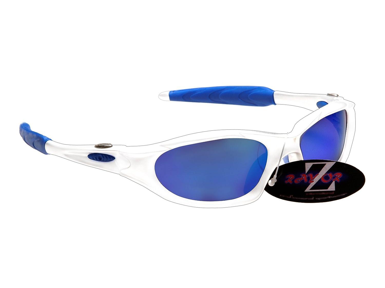 Rayzor Professionelle Leichte UV400 Silber Sports Wrap Schifahren Sonnenbrille, mit einem blauen Iridium Mirrored Blend Lens.