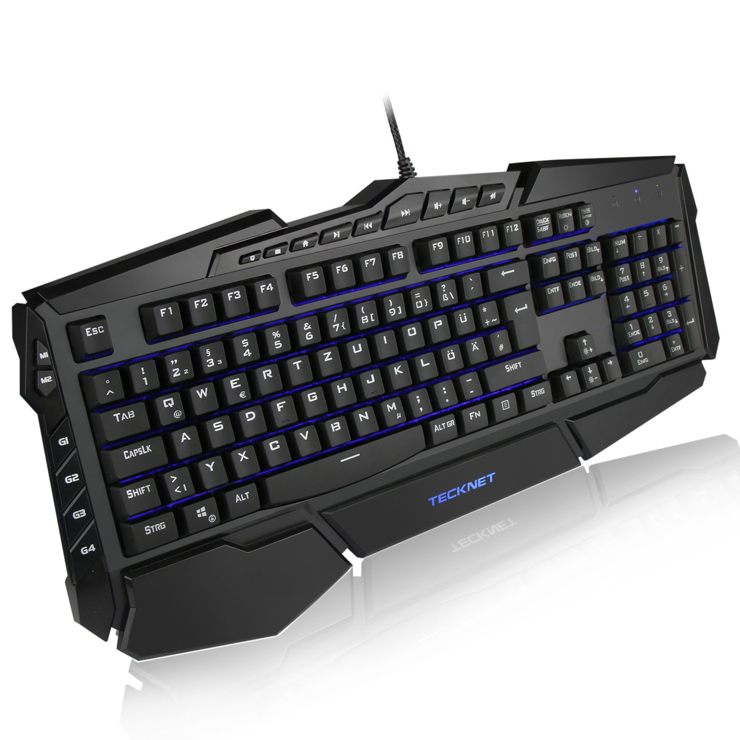 Gaming Tastatur(QWERTZ), TeckNet LED Illuminated Programmierbar Anti-Ghosting Gaming Keyboard mit USB Kabel, 7 Hintergrundfarben, 4 benutzerdefinierte Tasten, Wasserrdicht 846923