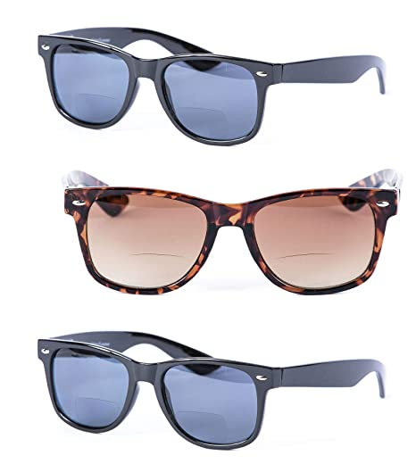 046dd55a50a 3 Pair of Classic Wayfarer Bifocal Sunglasses - Outdoor Reading Sunglasses  - Soft Pouches Included (