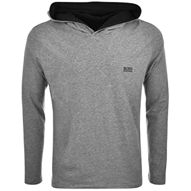 091004e76 Grey Mens HUGO BOSS Black Long Sleeved Hooded T Shirt Grey - Medium:  Amazon.co.uk: Clothing