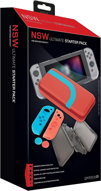 Gioteck - Pack funda de transporte + Protector policarbonato + 2x Grips + cristal templado + 2x fundas de silicona para Joy-con + protector para 4 juegos (Nintendo Switch): Amazon.es: Videojuegos